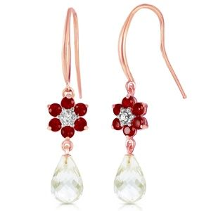 EARRINGS W/DIAMONDS, RUBIES & WHITE TOPAZ